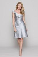 Платье для матери невесты Mew Sliver Taffeta V-Neck Sheath Knee-Length with Three Quarter Long Coat Mother of the Bride DressesMM5
