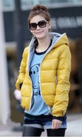 Женские пуховики, Куртки 2012 autumn winter fashion women's coat with a hoody thermal wadded jacket cotton-padded coat outerwear 4colors