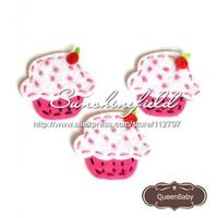 Искусственные цветы для дома Trial Order Mini Felt Cupcake Flat back hair accessories Handmade Felt Cupcake 30pcs/LOT QueenBaby