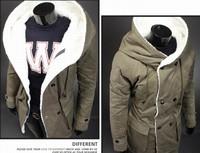с капюшоном мех оформленный утолщенные досуг стиль мужчины теплое пальто