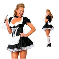 Женский маскарадный костюм Sexy Black & White French Maid Servant Cosplay Halloween Costume Dress Outfit Costumes Carnival Women