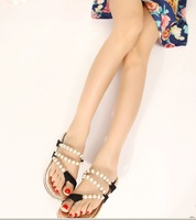 Женские сандалии 80% off 2013 sexy Rhinestone pearl flat sandals, women slides, fashion slippers