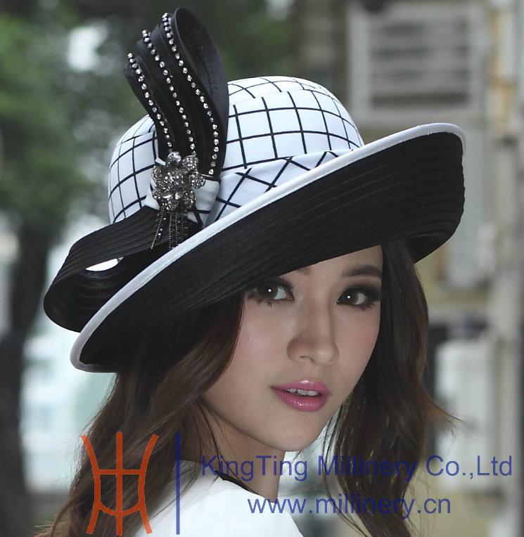 New Fashion Lady's Black White Check Satin Bow Up Birm 100% Polyester Kentucky Derby Wedding Dress Hat Church Hat