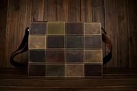 мужской бренд ретро раскрашенная реальные couro коровьей квадратных пэчворк Винтаж цветной натуральной кожи messenger сумка s292