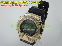 Наручные часы 2012 Hot seller! al G watch diamond 6900, gold & silver fashion sports crystal digital watch EMS 8pcs/lot