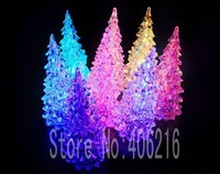 Colorful acrylic crystal Christmas tree small night lamp