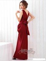 Free shipping summer Fashion evening dress V-neck bow sleeveless maxi long dress 4 colrs optional retail/wholesale