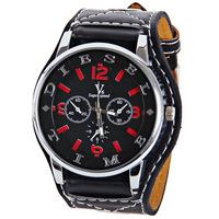 кварцевые часы V6 с полосками и 4 номера обозначают кожаные ремешки для мужчин