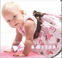 Платье для девочек 5pcs/lot baby girl summer sleeveless printing flower dress cake and ice cream pattern design belt with the dress