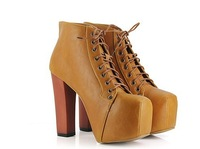 Туфли на высоком каблуке New styles, fashion boots, high heel shoes, causal square head lace up boots
