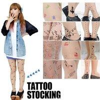 Женские колготки 33 styles ~ Sexy Euro-American Fashion silk stockings Ultrathin Tattoo design pantynose