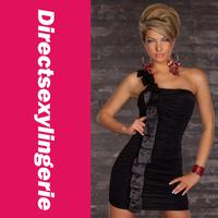 Женское платье 2013 Top Fashion Elegant One-shoulder Mini Dress With Satin Salmon Bandeau Clubwear OL Dress LC2648