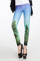 Free Shipping Blue Starry Printed Galaxy Leggings Women Space Legging LB13270