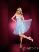 Платье для выпускниц H570 Strapless Beading Tulle Homecoming Dresses A-Line Above Knee, Mini Custom Made