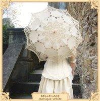 Bridal batten lace iwhite Parasol and Fan Umbrella for wedding