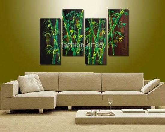 Env o libre 100 pintado a mano paisaje pintura al leo de for Color bambu pintura
