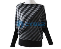 Женский пуловер Women's Grid Stripe Batwing Sleeve Loose Knitted Sweater Knitwear Tops Front/Back Reversible