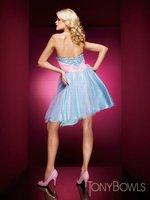 Платье для выпускниц H570 Strapless Beading Tulle Homecoming Dresses A-Line Above Knee, Mini Custom Made
