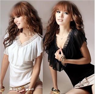 2013-Hot-Sale-Ladies-V-Neck-Chiffon-Falbala-Plain-Colour-All-Match-T-Shirt-Women-Cute