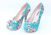 Туфли на высоком каблуке 2012 new women's high heels retro cloth shoes
