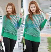 Женский пуловер Women's Grid Stripe Batwing Sleeve Loose Knitted Sweater Knitwear Tops Front/Back Reversible
