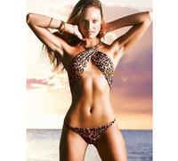 2012 Women Sexy Wild Halter Leopard Overbust Top Bra Bikini PADDED Swimsuit Swimwear Bathing Beach Wear in Size S M L