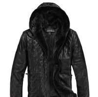 Мужские изделия из кожи и замши Guarantee 100% Genuine Sheepskin Leather Cotton Jackets for Men With Huge Rex Rabbit Fur Hood Leather Autumn & Spring