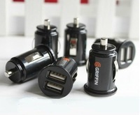 Mini Bullet Dual USB 2-Port Car Charger Adaptor for mobile phone and digital products 5V-2.1A