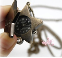 10pcs/lot Antique Lucky Star Lady's Pendant Clock Watch Necklace Watches Best Chriams Gift Free Ship