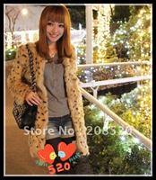 2012 new rabbit hair leopard grain medium style fur coat/fur coat