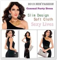 Платье для вечеринки 2013 Latest Fashion Sexy Lace Slim Up Women Off Shoulder Mini Black Nightclub Dress DL2697
