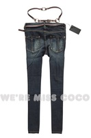Женские джинсы New simple double-layer belt small haroun nine points cowboy pants women cultivate one's morality