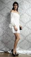 Женское платье DRE013 Sexy Dress White Lace Dress Puff Sleeve Dress Women Straight Mini Skirt Strapless Dress Slash neck Dress