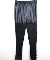 новые женщины сексуальная черная рыба масштаб отверстия двойных слоев искусственной кожи леггинсы штаны эластичный голеностопный Длина брюк