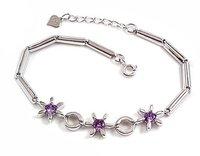 New Arrival Wholesale Zircon Bracelet 100% Solid 925 Sterling Silver Chain With Purple Zircon,YH39701