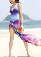 Женская туника для пляжа New Fashion Sexy Chiffon Swimsuit Pareo Beach Cover up Sheer Sarong Scarf Y01
