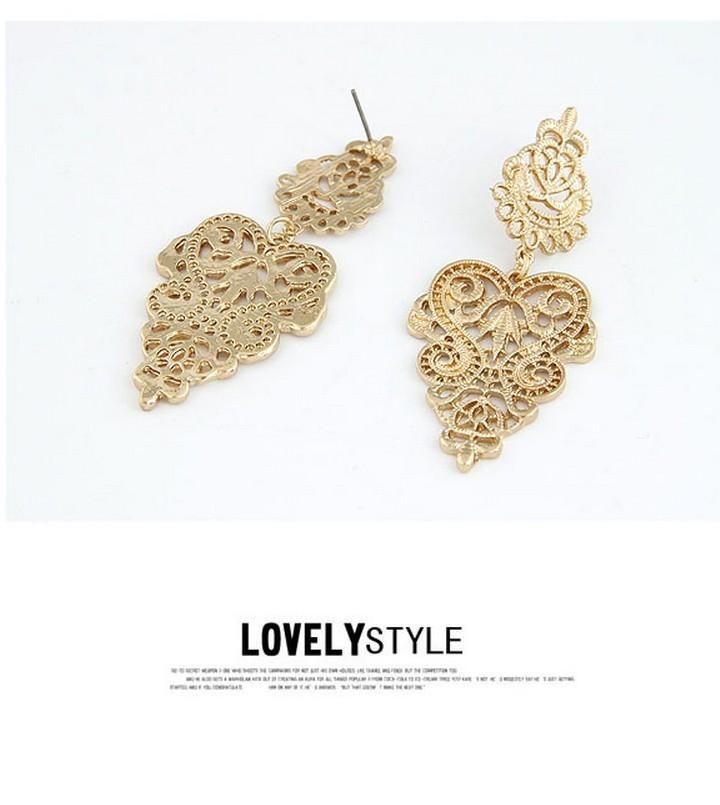 מעצב חדש סגסוגת ציפוי זהב חלול פרחים עגילים לנשים בנות משלוח חינם Min.$10(לערבב פריטים)