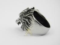 PUNK rock gothic Men's hammer akuro silver wolf werewolf finger ring stainless steel finger RG007