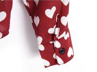 Мода Европейский стиль осень женщин белый сердце печатных шифона рубашку блузку дамы элегантный полный длинные шифоновые рубашки Топ