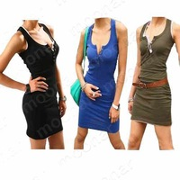 Женское платье 10 pcs 2013 Fashion Elastic Rib Sexy Casual Dress for Laday 15 colors