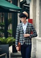 Мужской блейзер Stylish Men Long Sleeve Turn-down Collar Button Casual Leisure Men Suits Plaid Suits Men Coat