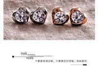 Wholesale Jewelry  Antique 14K ROSE WHITE GOLD PLATED Heart Stud Earrings Silver Needle Earring NEW  SJE164 Free Shipping
