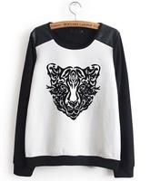 Женские толстовки и Кофты 2013 New Fashion Women's Black & White Contrast 3D Tiger Head Print Jumper Long sleeve Sweatshirt Top