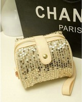 2013 Stylish woman bag,casual candy color PU leather shoulder bag, flitter rivets bucket bag 11 patterns,wholesale price
