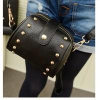 Сумка через плечо 2013 Stylish woman bag, casual candy color PU leather shoulder bag, flitter rivets bucket bag 11 patterns, price