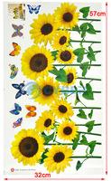 Стикеры для стен Colorful Sunflower Butterfly Wall Sticker Wall Mural Home Decor Room Decor Kids Room 4676