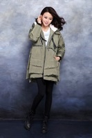 Женские пуховики, Куртки 2013 New Winter Coat Women 100% Pure Down Coat Thick Army Style Clothing Goose Down Jacket and long