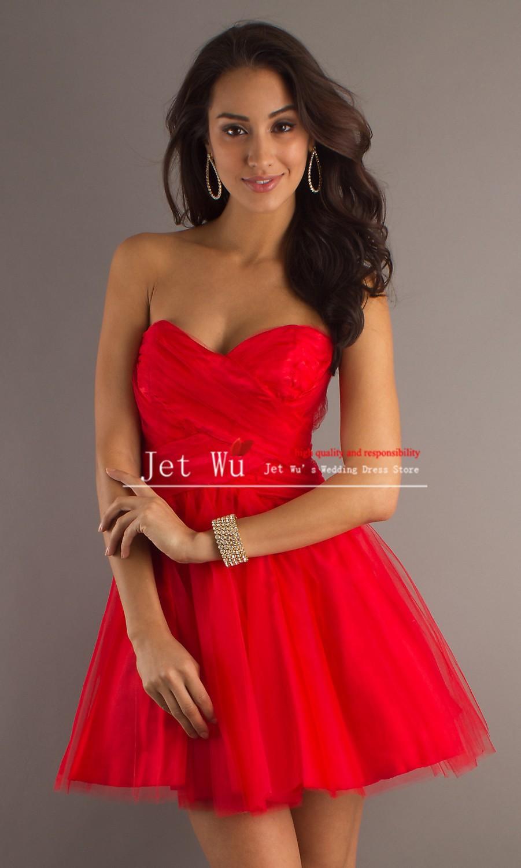 Красное короткое платье на выпускной
