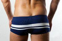 Men's Sexy Cotton Blend Striped Boxer Brief Trunks Underwear Short Pant Swimwear NS005