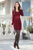free shipping 2012 new fashion women's long sleeve casual dresses, blouses for Autumn